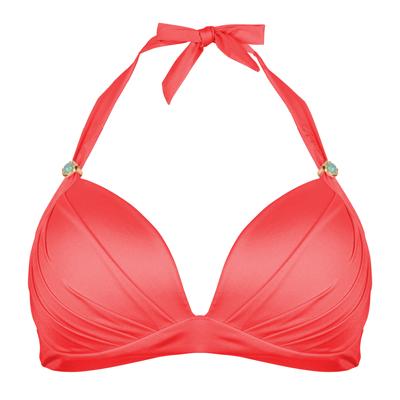 BOHO Lustrous Halter Coral-Red